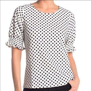 Adrianna Papell Tex Polka Dot Ruched Cuff Blouse M